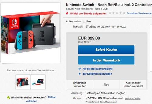 Nintendo Switch Konsole Neon-Rot/Neon-Blau - jetzt 10% billiger