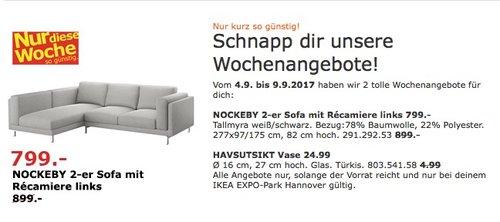 IKEA NOCKEBY 2-er Sofa mit Repariere links. Bezug: Tallmyra weiß/schwarz - jetzt 11% billiger