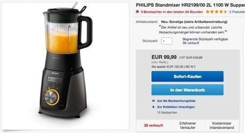 Philips HR2199/00 Hochleistungsmixer mit 32.000 U/min für feine Smoothies - jetzt 60% billiger