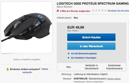 Logitech Proteus Spectrum G502 Gaming Maus (RGB Tunable, mit 11 programmierbaren Tasten) - jetzt 26% billiger