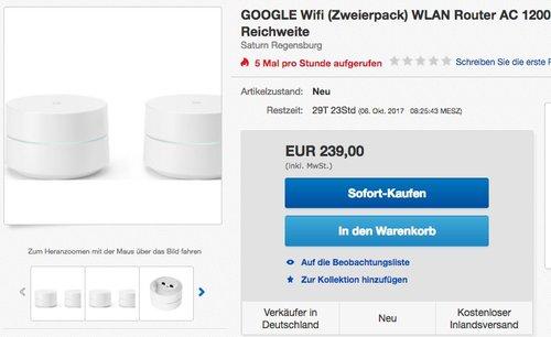 Google Wifi (Zweierpack) - jetzt 10% billiger