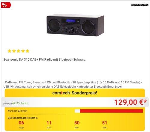 Scansonic DA 310 DAB+/FM/CD Radio Bluetooth schwarz - jetzt 13% billiger