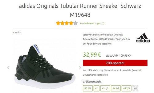 adidas Originals Tubular Runner Sneaker Schwarz M19648 - jetzt 34% billiger