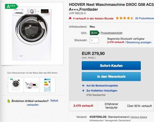 HOOVER Next Waschmaschine DXOC G58 AC3, 8 kg, 1500 U/Min, EEK: A+++ - jetzt 16% billiger
