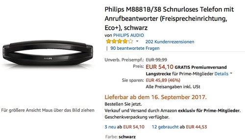 Philips M8881B/38 Schnurloses Telefon mit Anrufbeantworter - jetzt 32% billiger