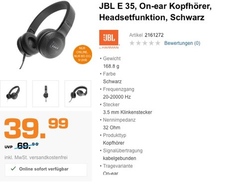 JBL E35 On-ear Kopfhörer - jetzt 27% billiger