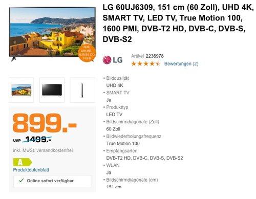 LG 60UJ6309 151 cm (60 Zoll) Fernseher (Ultra HD, Triple Tuner, Smart TV, Active HDR) - jetzt 11% billiger