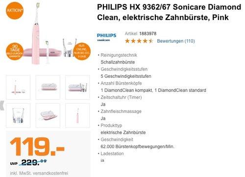 PHILIPS HX 9362/67 Sonicare Diamond Clean, elektrische Zahnbürste, Pink - jetzt 21% billiger