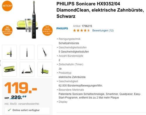 PHILIPS Sonicare HX9352/04 DiamondClean, elektrische Zahnbürste, Schwarz - jetzt 20% billiger