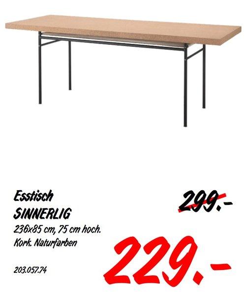 IKEA SINNERLIG Esstisch, 236x85 cm, 75 cm hoch. Kork. Naturfarben - jetzt 23% billiger
