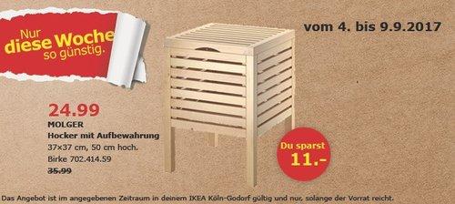 IKEA MOLGER Hocker mit Aufbewahrung, 37x37 cm, 50 cm hoch, Birke - jetzt 31% billiger
