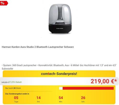 Harman Kardon Aura Studio 2 Bluetooth Lautsprecher Schwarz - jetzt 24% billiger