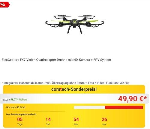 FlexCopters FX7 Vision Quadrocopter Drohne  - jetzt 55% billiger