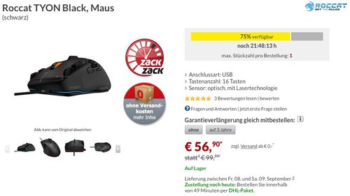 Roccat Tyon All Action Multi-Button Gaming Laser-Maus (8200dpi, USB) - jetzt 37% billiger