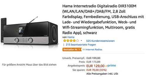 Hama Internetradio Digitalradio DIR3100M  - jetzt 18% billiger