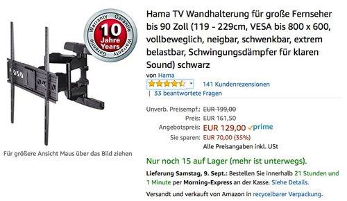 Hama TV Wandhalterung für große Fernseher bis 90 Zoll - jetzt 20% billiger