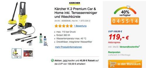 Kärcher K 2 Premium Car & Home inkl. Terrassenreiniger und Waschbürste - jetzt 17% billiger