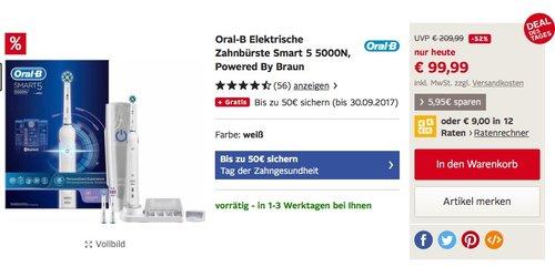 Oral-B Smart 5 5000N Elektrische Zahnbürste, mit Timer und Andruckkontrolle - jetzt 18% billiger