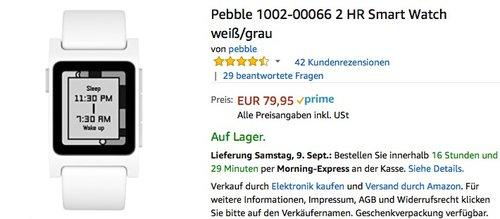Pebble 2 HR Smart Watch weiß/grau - jetzt 17% billiger