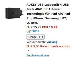 AUKEY USB Ladegerät 4 USB Ports 40W mit AiPower Technologie  - jetzt 31% billiger