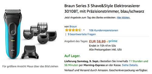 Braun Series 3 Shave&Style Elektrorasierer 3010BT, mit Präzisionstrimmer, blau/schwarz - jetzt 18% billiger