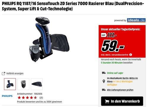 Philips SensoTouch 2D Elektrischer Rasierer RQ1187/16, mit Bartstyling Aufsatz - jetzt 31% billiger
