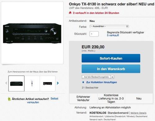 Onkyo TX-8130 Netzwerk-Stereo-Receiver (110W/Kanal, Phono, 384kHz/32-Bit DAC, Hi-Res Audio, Spotify, Deezer, DLNA, RDS) - jetzt 14% billiger
