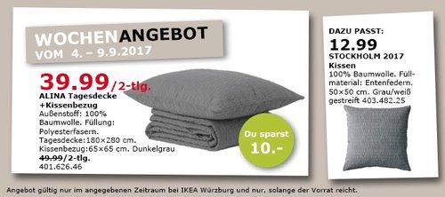IKEA ALINA Tagesdecke (180x280 cm)+ Kissenbezug (65x65 cm), dunkelgrau - jetzt 20% billiger