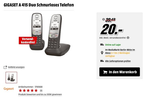 Gigaset A415 Duo Telefon - jetzt 49% billiger