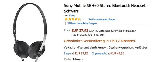 Sony Mobile SBH60 Stereo Bluetooth Headset - Schwarz - jetzt 23% billiger