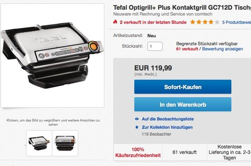 Tefal GC712D12 Optigrill plus, Plus-Modell mit zusätzlichen Temperaturstufen - jetzt 9% billiger