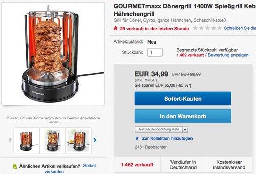 GOURMETmaxx Dönergrill 1400W Spießgrill  - jetzt 42% billiger