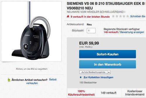 Siemens VS06B210 Staubsauger - jetzt 39% billiger