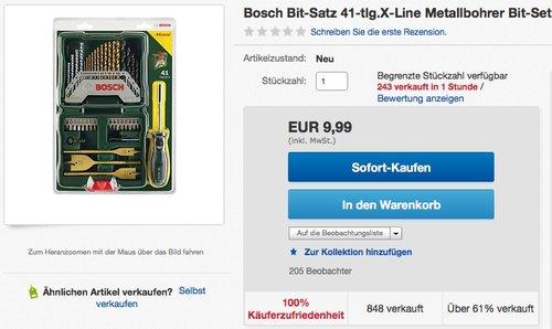 Bosch Bit-Satz 41-tlg.X-Line Metallbohrer Bit-Set TX PZ PH Schraubendreher - jetzt 50% billiger