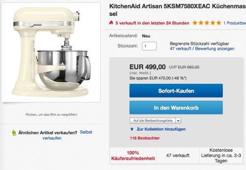 KitchenAid Artisan 5KSM7580X Küchenmaschine - jetzt 27% billiger