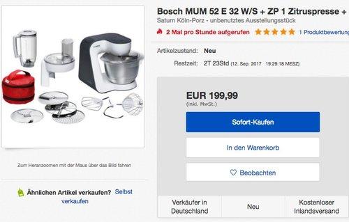 Bosch MUM52E32 Küchenmaschine Styline MUM5 (700 Watt, 3.9 Liter) weiß - jetzt 28% billiger