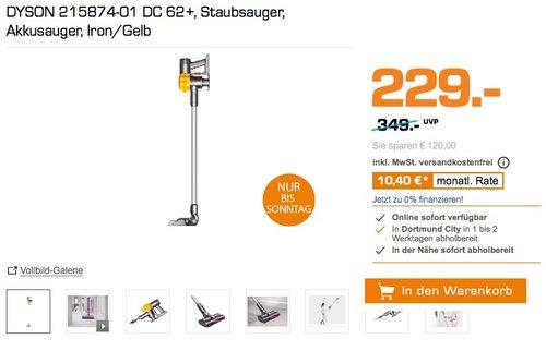 DYSON 215874-01 DC 62+, Staubsauger, Akkusauger, Iron/Gelb - jetzt 21% billiger