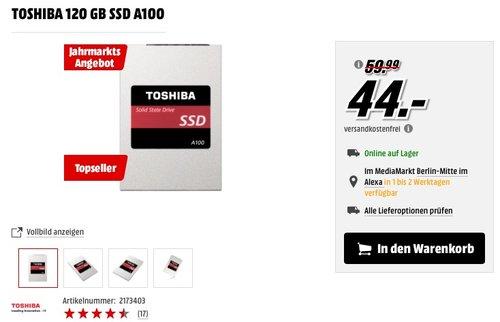 Toshiba A100 interne SSD 120 GB (6,4 cm (2,5 Zoll)) - jetzt 27% billiger
