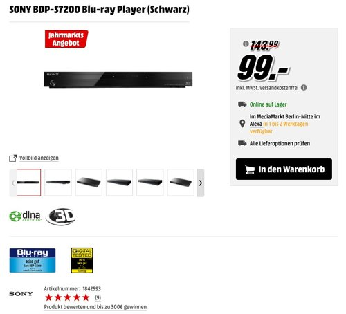 SONY BDP-S7200 Blu-ray Player (Schwarz) - jetzt 31% billiger