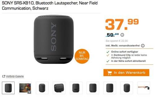 Sony SRS-XB10 Tragbarer, kabelloser Lautsprecher (Bluetooth, NFC, Extra Bass) schwarz - jetzt 28% billiger