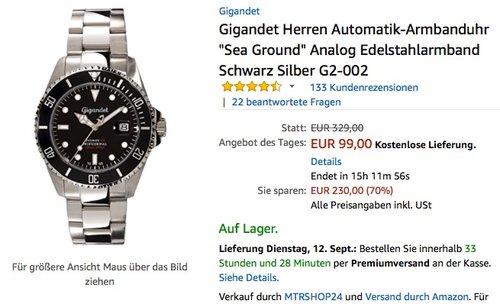 """Gigandet Herren Automatik-Armbanduhr """"Sea Ground"""" Analog Edelstahlarmband Schwarz Silber G2-002 - jetzt 29% billiger"""