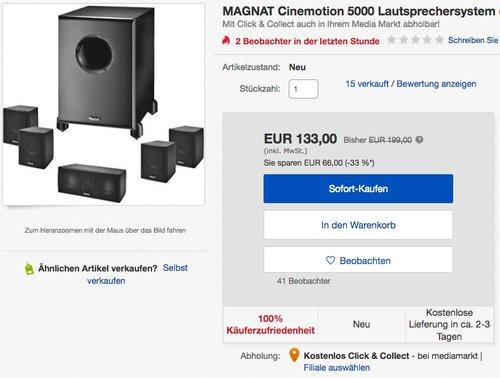 Magnat Cinemotion 5000 Lautsprechersystem - jetzt 33% billiger