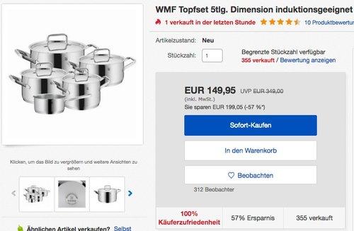 WMF Topfset 5tlg. Dimension - jetzt 21% billiger