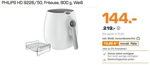 Philips HD9226/50 Airfryer Heißluftfritteuse, 1425 W, Grillrost, weiß - jetzt 34% billiger