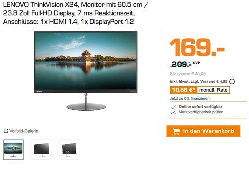 LENOVO ThinkVision X24, Monitor mit 60.5 cm / 23.8 Zoll Full-HD Display - jetzt 13% billiger