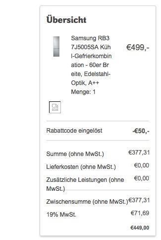 Samsung RB37J5005SA Kühl-Gefrierkombination - jetzt 31% billiger