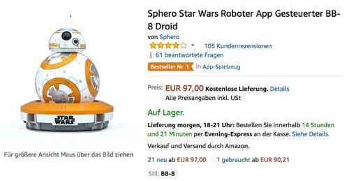 Sphero Star Wars Roboter App Gesteuerter BB-8 Droid - jetzt 30% billiger