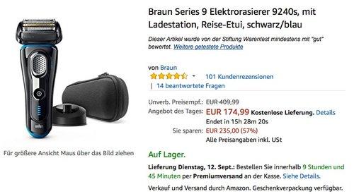 Braun Series 9 Elektrorasierer 9240s, mit Ladestation, Reise-Etui, schwarz/blau - jetzt 20% billiger