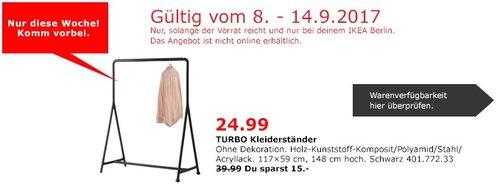 IKEA TURBO Kleiderständer, 117x59 cm, 148 cm hoch, schwarz - jetzt 38% billiger