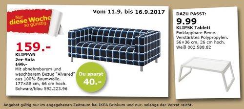 IKEA KLIPPAN 2er-Sofa, 180x88 cm, 66 cm hoch, 43 cm Sitzhöhe, Alvared schwarzblau - jetzt 20% billiger